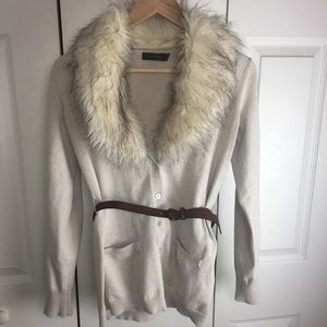 The Limited Faux Fur Collar Convertible Cardigan